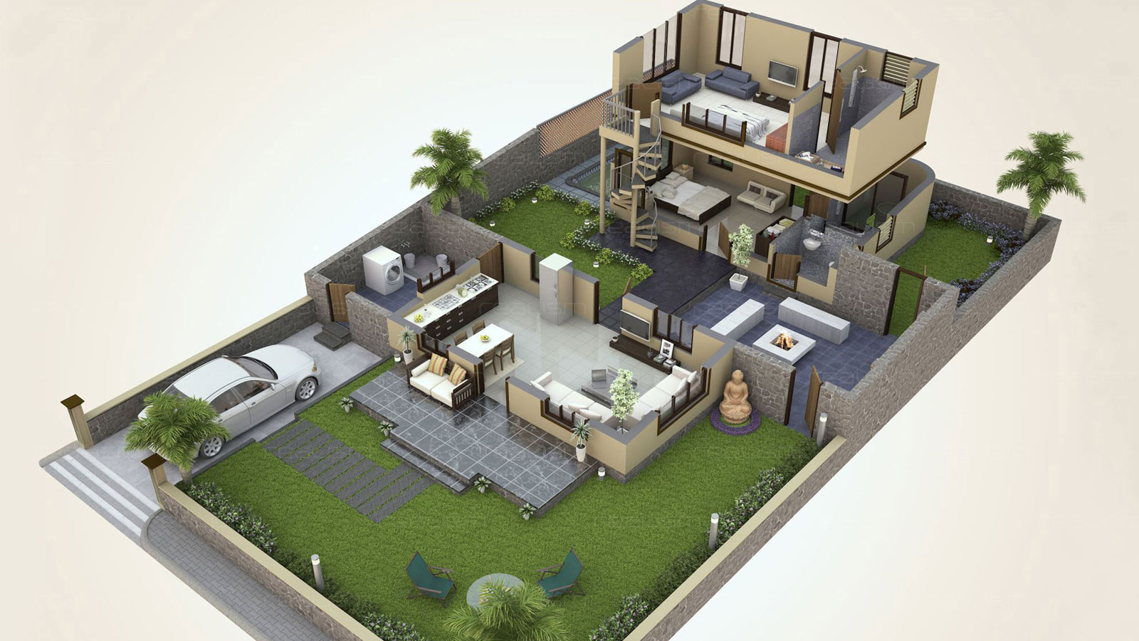 Realism 3d isometric views 3d floor house plans 3d for House design plan 3d